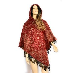 Hooded Poncho with Pockets